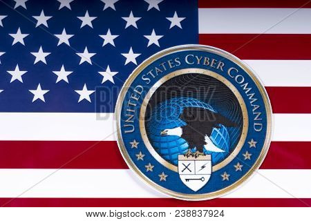 London, Uk - March 26th 2018: The Symbol Of The United States Cyber Command Portrayed With The Us Fl
