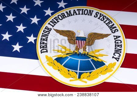 London, Uk - March 26th 2018: The Symbol Of The Defense Information Systems Agency Portrayed With Th