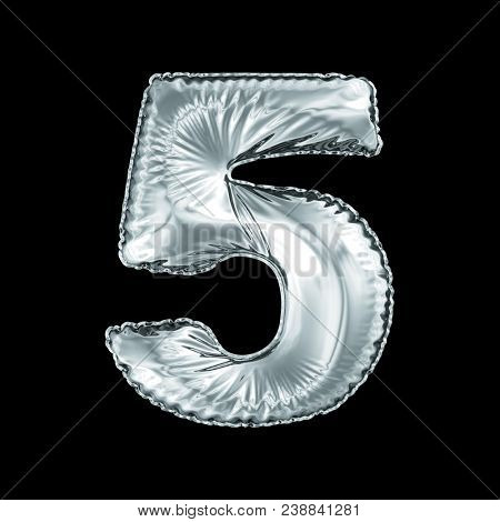 Number 5 five made of silver balloon isolated on a black background. 3d rendering