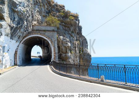 Famous Picturesque Road Viaduct Of Amalfi Summer Coast, Italy