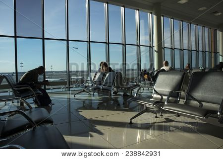 Moscow, Russia - April 28, 2018: Airport Terminal. Sheremetyevo International Airport Is An Internat