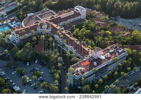 Beverly Hills, California, USA - April 18, 2018:  Aerial view of the historic, luxurious and stylish Beverly Hills Hotel near Los Angeles, California.