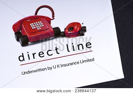London, Uk - March 27th 2018: A Close-up Of The Direct Line Company Logo, Pictured On The Bottom Of