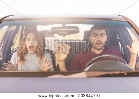 Frightened Terrified Couple In Car Can`t Control Speed, Drive Fast, Afraid Of Being Safe, Scream Wit