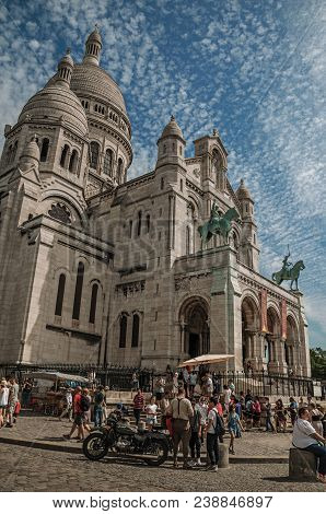 Paris, France - July 08, 2017. People, Blue Sky And Basilica Of Sacre Coeur Facade In Paris. Known A