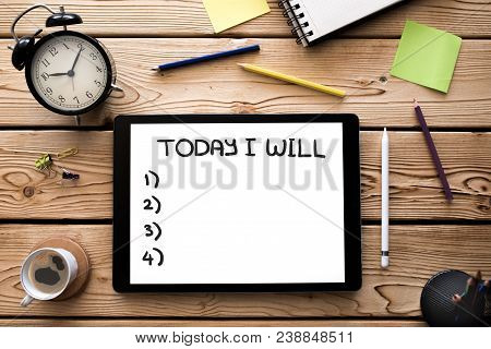 Time Management Concept On Digital Tablet With Alarm Clock