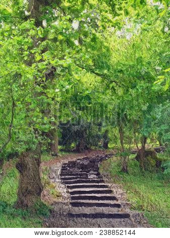 Beautiful Painting Of A Path Of Steps In The Woods With Green Trees And Space For Text.