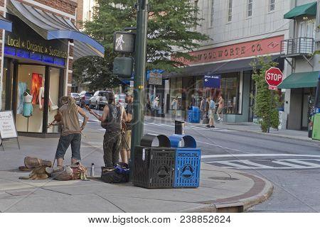 Asheville, North Carolina, August 17, 2017: Daytime Summer Street Scene In Downtown Asheville, A Pop