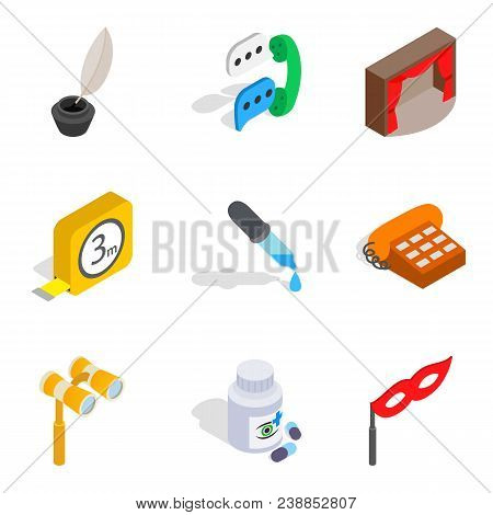 Hard Work Icons Set. Isometric Set Of 9 Hard Work Vector Icons For Web Isolated On White Background