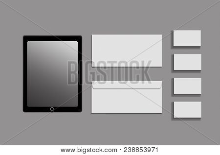 Black White And Gray Color Mock-up Of Stationery, A Template For Brand Identification On A Grey Back