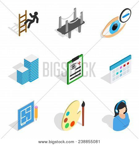 Excellent Work Icons Set. Isometric Set Of 9 Excellent Work Vector Icons For Web Isolated On White B