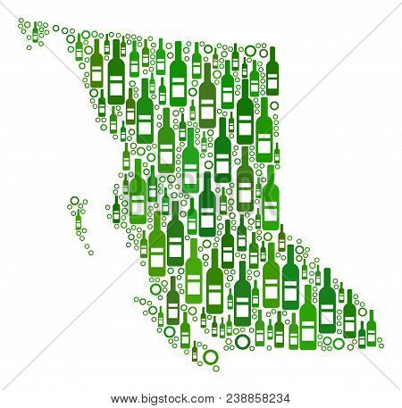 British Columbia Province Map Mosaic Of Alcohol Bottles And Circle Particles In Different Sizes And