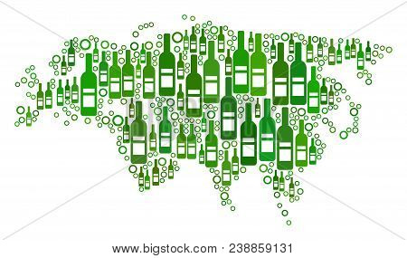 Eurasia Map Mosaic Of Alcohol Bottles And Spheric Bubbles In Various Sizes And Green Color Hues. Abs