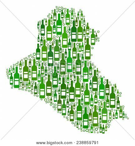 Iraq Map Collage Of Alcohol Bottles And Round Bubbles In Various Sizes And Green Color Tints. Abstra