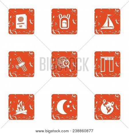 Gps Satellite Icons Set. Grunge Set Of 9 Gps Satellite Vector Icons For Web Isolated On White Backgr