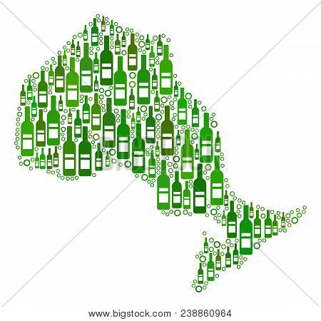 Ontario Province Map Mosaic Of Alcohol Bottles And Circle Particles In Different Sizes And Green Col