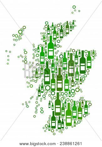 Scotland Map Collage Of Wine Bottles And Circle Bubbles In Different Sizes And Green Color Tinges. A