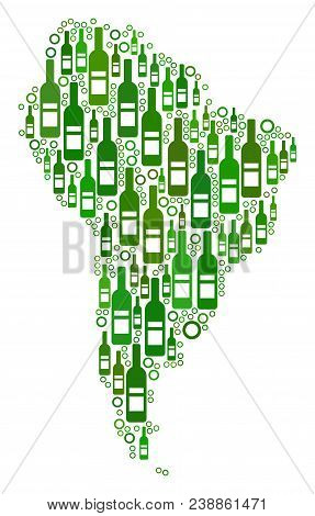 South America Map Collage Of Wine Bottles And Spheric Bubbles In Different Sizes And Green Color Ton