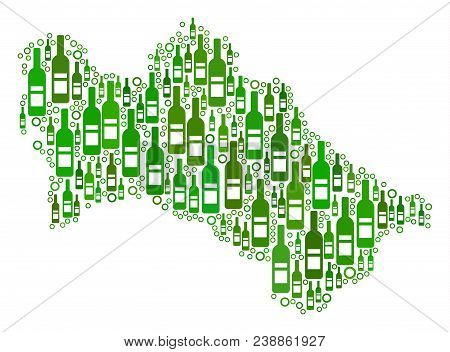 Turkmenistan Map Collage Of Alcohol Bottles And Circles In Various Sizes And Green Color Tints. Abst