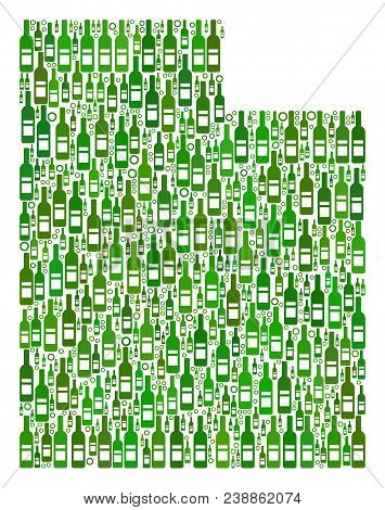Utah State Map Mosaic Of Wine Bottles And Spheric Bubbles In Variable Sizes And Green Color Shades.
