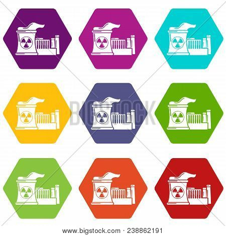 Atomic Reactor Icons 9 Set Coloful Isolated On White For Web
