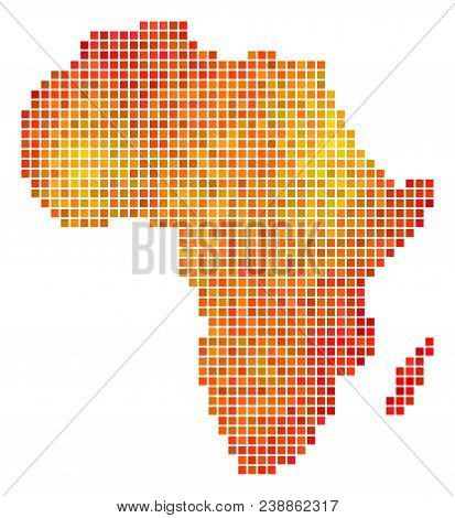 Pixel Fire Africa Map. Vector Territorial Map In Fire Color Tinges On A White Background. Vector Com