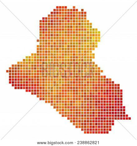 Pixelated Orange Iraq Map. Vector Territory Map In Bright Orange Color Hues On A White Background. V