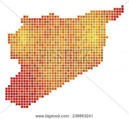 Pixelated Orange Syria Map. Vector Geographic Map In Orange Color Tinges On A White Background. Vect