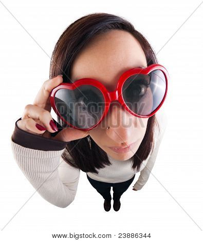 Fish-eyed Girl With Heart-shaped Sunglasses