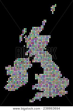 Dotted Great Britain And Ireland Map. Vector Geographic Map In Variable Colors On A Black Background