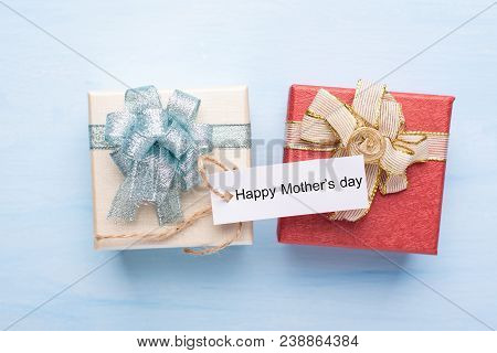 Gift Box With Happy Mother's Day Tag Card For Giving In Mother's Day