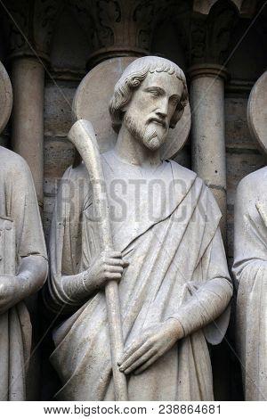 PARIS, FRANCE - JANUARY 04: Saint James the Less, Portal of the Last Judgment, Notre Dame Cathedral, Paris, UNESCO World Heritage Site in Paris, France on January 04, 2018.