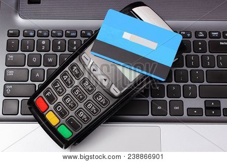 Payment Terminal With Contactless Credit Card And Laptop, Credit Card Reader, Paying Using Credit Ca