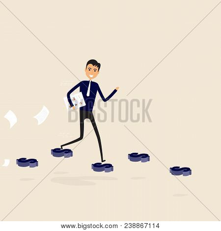 Businessman Walking On The Blue Dollar Sign.way Of Success.concept For Success.businessman Walking O