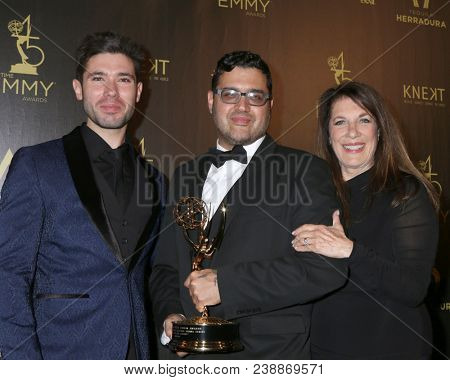 LOS ANGELES - APR 29:  Kristos Andrews, Gregori J Martin, Wendy Riche at the 45th Daytime Emmy Awards at the Pasadena Civic Auditorium on April 29, 2018 in Pasadena, CA