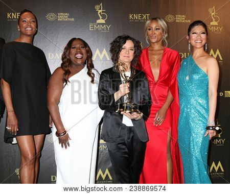 LOS ANGELES - APR 29:  Aisha Tyler, Sheryl Underwood, Sara Gilbert, Eve, Julie Chen, The Talk at the 45th Daytime Emmy Awards at the Pasadena Civic Auditorium on April 29, 2018 in Pasadena, CA