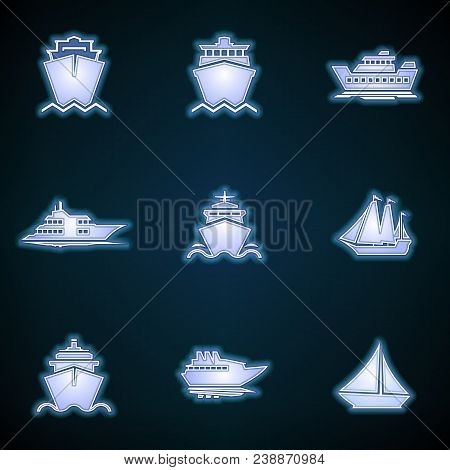 Ships, Boats, Cargo, Logistics, Transportation And Shipping Icons. Modern Neon Thin Icon Of Ship On