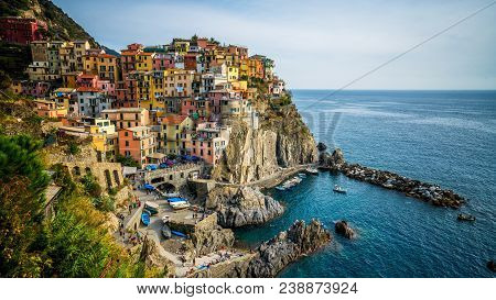 Manarola Village, Cinque Terre Coast Of Italy. Manarola Is A Beautiful Small Town In The Province Of