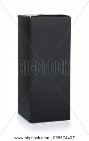 Black tall packaging box isolated on white