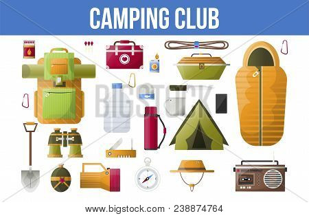 Camping Club Poster Of Summer Camping Tools For Hiking Adventure Infographic. Vector Camping Sleepin