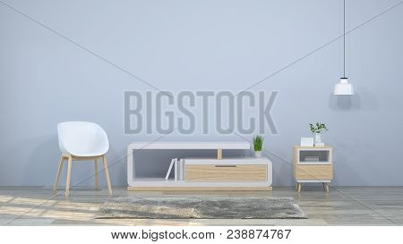 Tv Wood Cabinet And Chairs In The Room 3d Illustration Furniture,modern Home Designs,shelves And Boo
