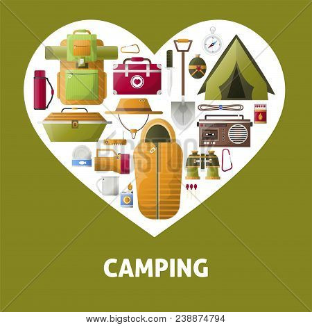 Camping Heart Poster Of Summer Camping Tools For Hiking Adventure. Vector Camp Tent, Scout Sleeping