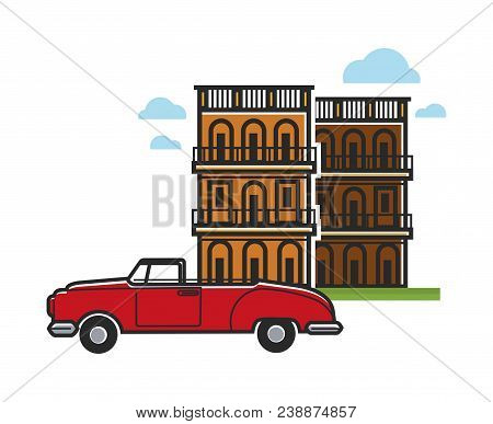 Cuba Travel Destination And Famous Culture Landmark Symbols. Vector Icons Of Vintage Retro Car And C