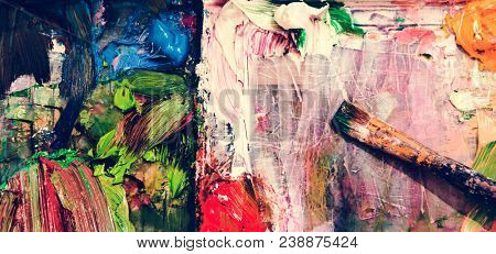 Acryllic painting and a bruch