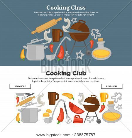 Cooking School Web Banners For Chef Masterclass Club. Vector Icons Cook Kitchenware Utensils And Cut
