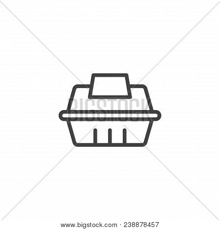 Take Away Food Container Outline Icon. Linear Style Sign For Mobile Concept And Web Design. Fast Foo