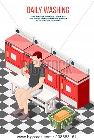 Daily Routine Isometric Composition With Male Character In Laundry Room Waiting For End Of Laundry P