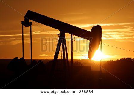 Oil Pump Against Setting Sun