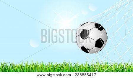 Banner With Soccer Ball And Grass Lawn.the Soccer Ball Is In The Goal Net. Soccer Ball On Green Gras