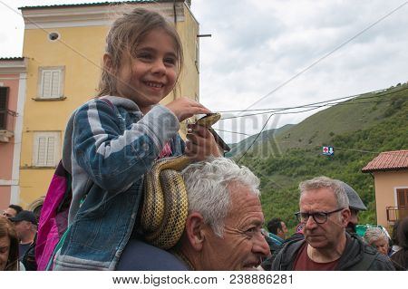 Cocullo, Italy - May 1, 2018: The Feast Of Serpari In The Main Square Of Cocullo Medieval Village, A